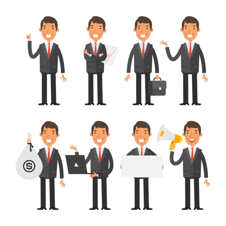 money cartoon: Businessman in red tie in different poses Illustration