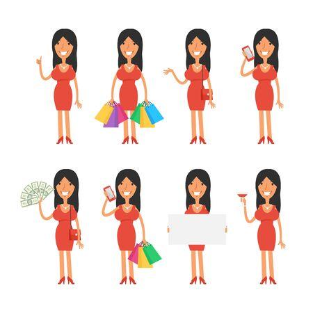 phone vector: Beautiful girl in various poses Illustration