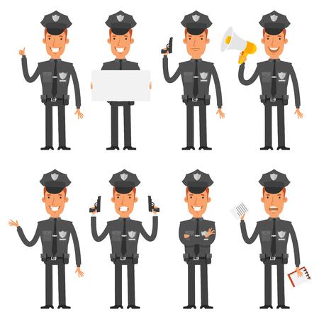 policia caricatura: Polic�a en diferentes poses