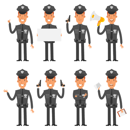 police officer: Policeman in different poses