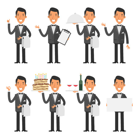 professional occupation: Waiter in various poses Illustration