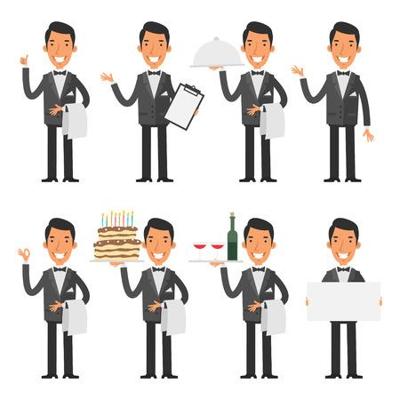waiter tray: Waiter in various poses Illustration