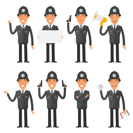 policia caricatura: Policía Inglés en diferentes poses