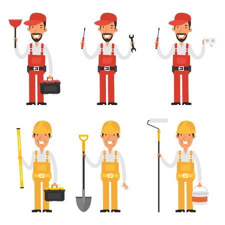 Set karakter bouwer en loodgieter Stock Illustratie