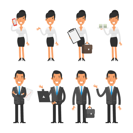 Set characters business woman and businessman