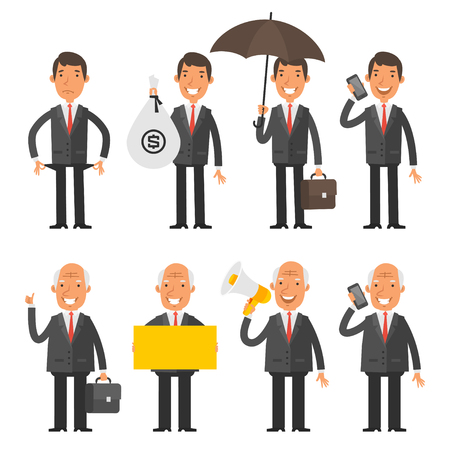 umbrella: Set characters old and young businessman