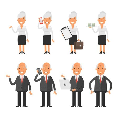 caricature woman: Set characters old business woman businessman