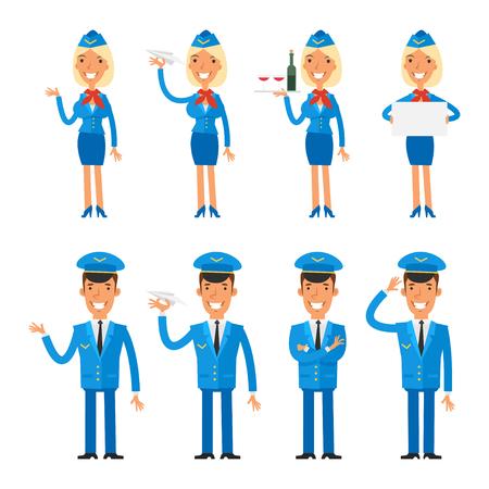 stewardess: Set characters stewardess and pilot