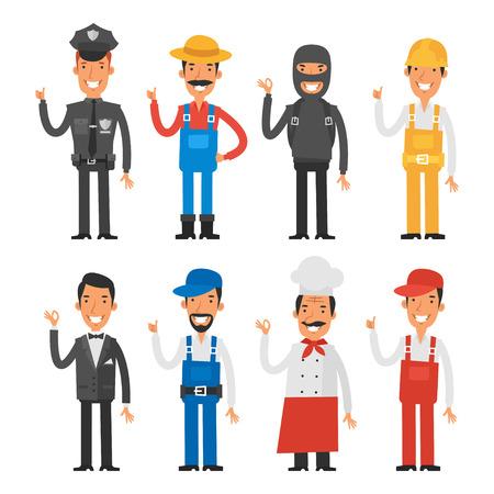 policia caricatura: Personas de diferentes profesiones que muestran los pulgares para arriba Vectores