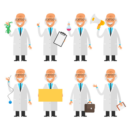 to a scientist: Set characters old scientist Illustration