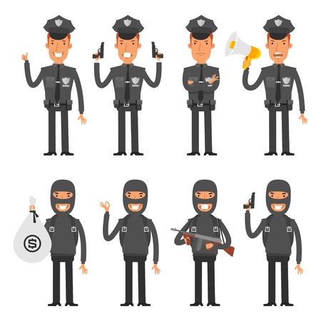 policia caricatura: Set caracteres polic�a y el delincuente