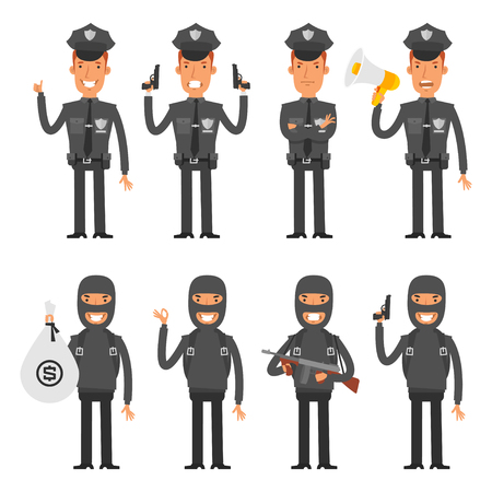 offender: Set characters policeman and offender Illustration
