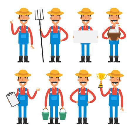 obrero caricatura: Personajes Set alegre agricultor Vectores