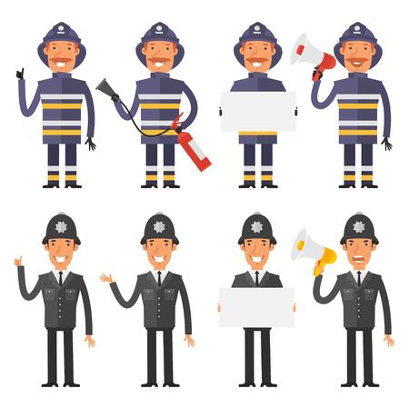 policia caricatura: Juego de caracteres polic�a y los bomberos