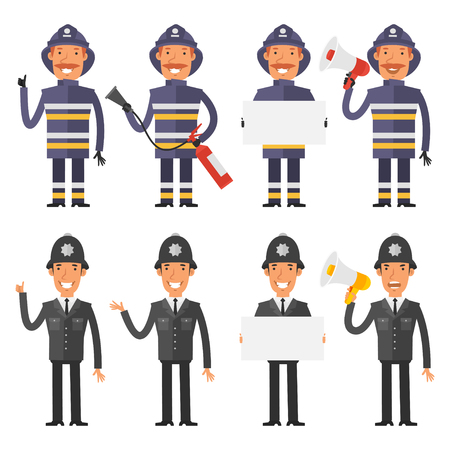 policia caricatura: Set characters policeman and firefighter Vectores