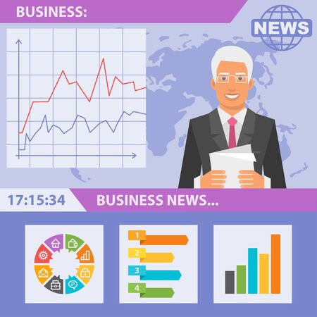 business news: Reporter and news business Illustration