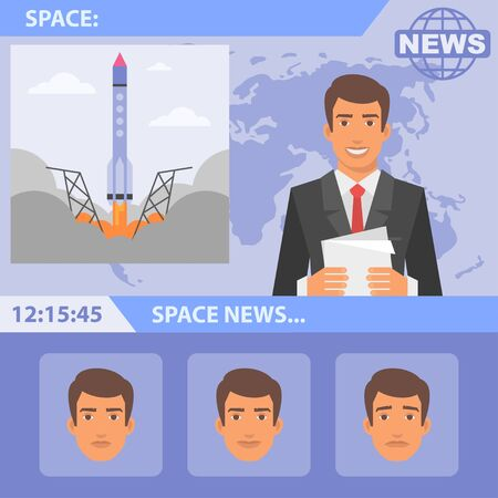 cartoon rocket: Reporter and news space