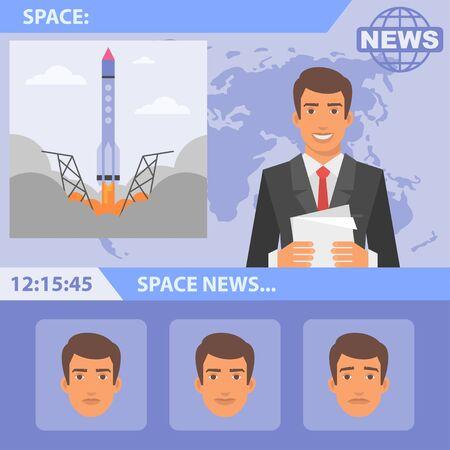 hombre caricatura: Reportero de noticias y el espacio
