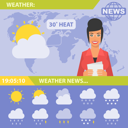 rain cartoon: Reporter and news weather