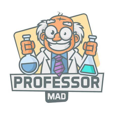 test tubes: Professor emblem holding test tubes Illustration