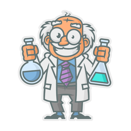 test glass: Professor holding test tubes
