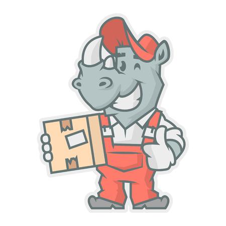 horn like: Rhinoceros character holding cardboard box