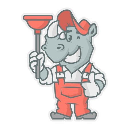 horn like: Rhinoceros character holding plunger