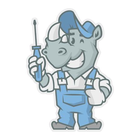 horn like: Rhinoceros character holding screwdriver Illustration