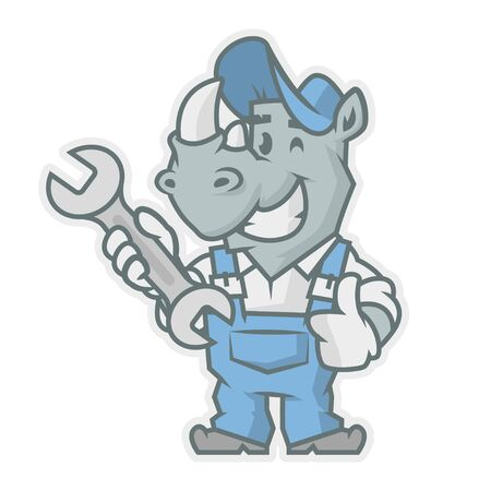 horn like: Rhinoceros character holding wrench