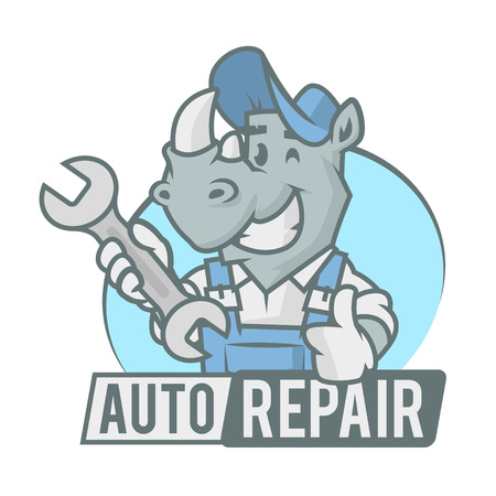 cartoon animal: Rhinoceros emblem holding wrench