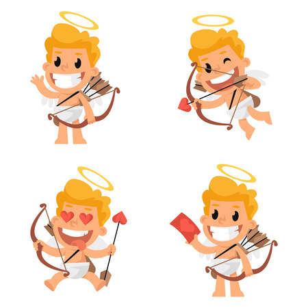 cartoon present: Cupid mascot in various positions