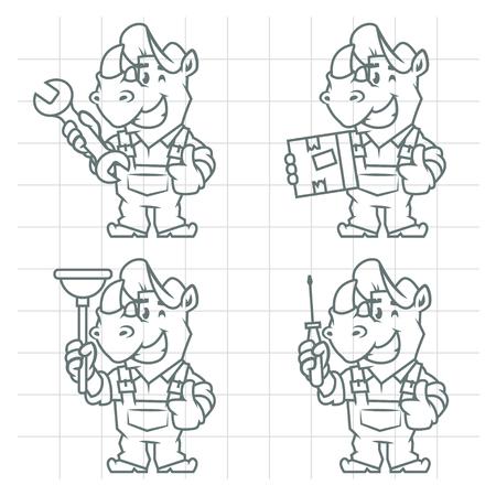 horn like: Set character rhinoceros doodle