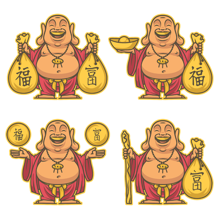 Boeddha geeft rijkdom en geluk Vector Illustratie