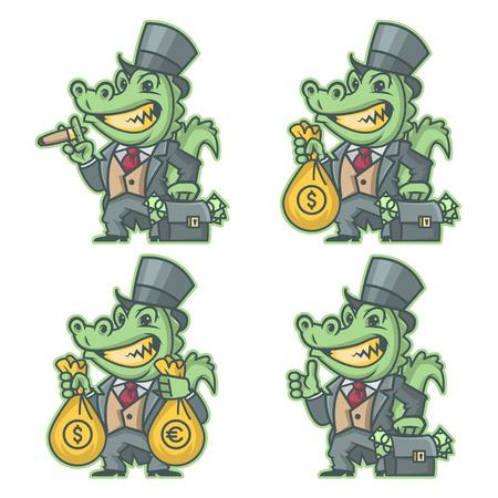 millonario: Cocodrilo millonario banquero Vectores