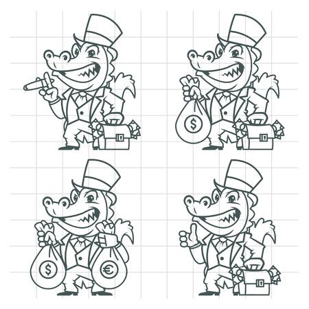 hombre millonario: Cocodrilo millonario banquero del doodle