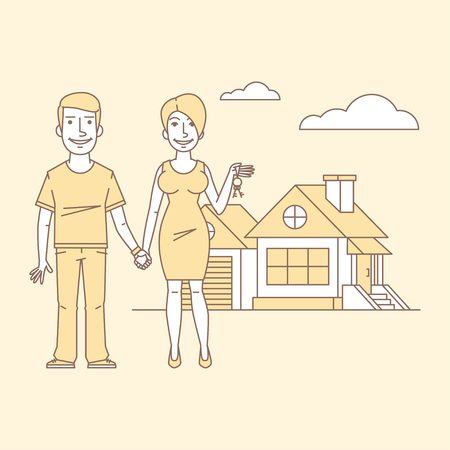 idea cartoon: Young couple and new home