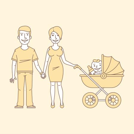 enamorados caricatura: Pareja joven con el cochecito Vectores