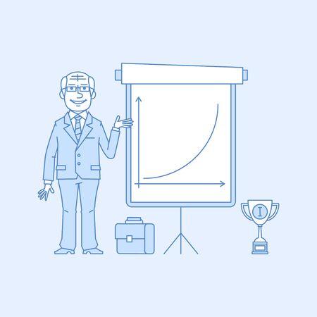 flip chart: Elderly businessman points on flip chart Illustration