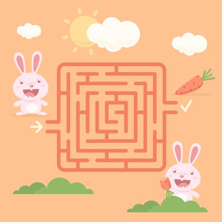 zanahoria caricatura: Laberinto de conejo con la zanahoria Vectores
