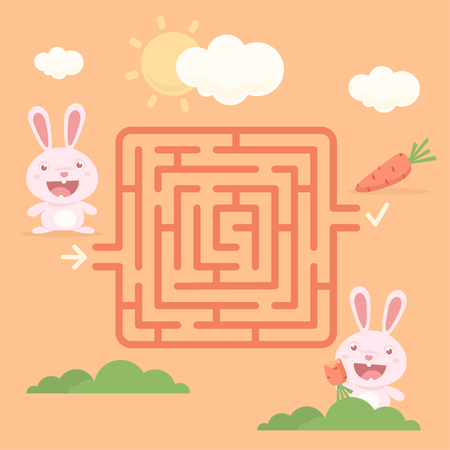 cute cartoon animals: Labyrinth rabbit with carrot
