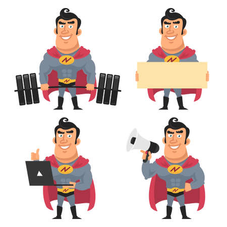 objects: Superhero holds various objects Illustration