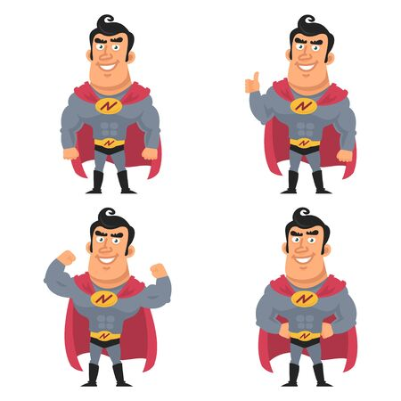 versions: Superhero in different versions Illustration