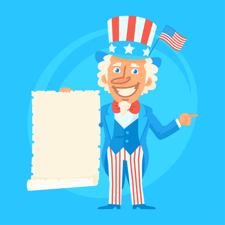 Uncle Sam Holds Paper Scroll and Indicates Illustration