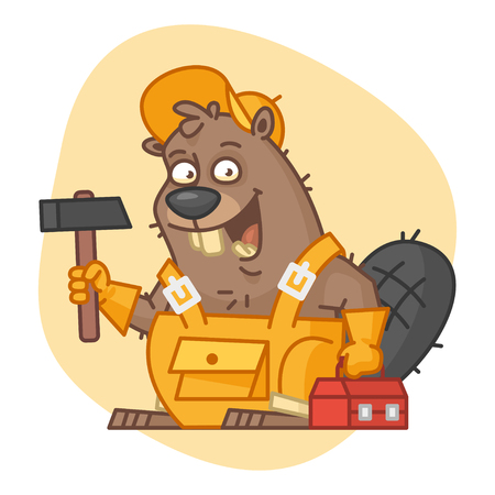 Beaver Holding Hammer and Tools Illustration