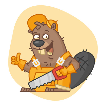 Beaver Holds Saw and Showing Thumbs Up