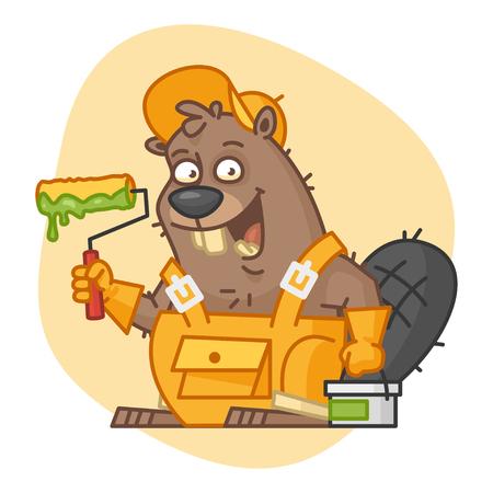 Beaver Holds Roller and Bucket with Paint Ilustração Vetorial