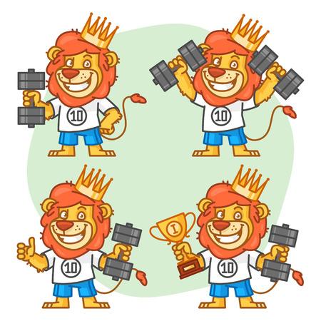 rey caricatura: Leo Bodybuilder en diferentes versiones Vectores