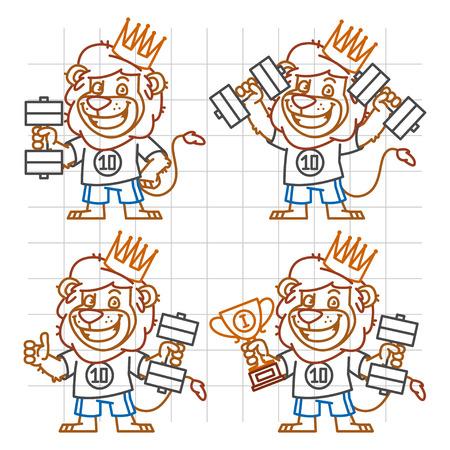 rey caricatura: Leo Bodybuilder in Different Versions Doodle