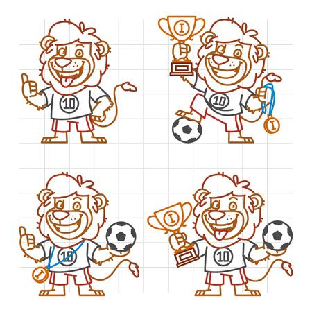 rey caricatura: Lion Footballer Doodle Part 1