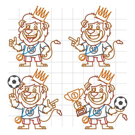 rey caricatura: Lion Footballer Doodle Part 2 Vectores